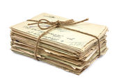 Stack of old letters on white background — Stock Photo
