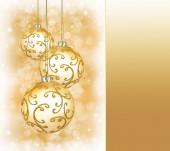 Three beautiful golden christmas balls  — Stock Photo
