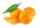 Fresh juicy tangerine on white background — Stock Photo