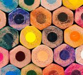 Colorful rainbow background with pencils — Stock Photo