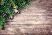 Christmas fir tree on a wooden background — Photo