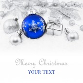 Decorative christmas background with bokeh lights — Stock Photo