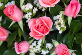 Bouquet with pink roses close up — Stock Photo