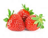 Strawberries with leaves on a white background. — Stock Photo