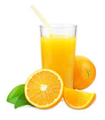 Orange juice and oranges with leaves  — Stock Photo