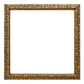 Vintage gold color picture frame isolated on white  — Stock Photo