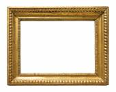 Vintage gold color picture frame isolated on white background — Stock Photo