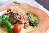 Baked halibut with vegetable garnish  — Stock Photo