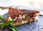 Homemade italian tiramisu cake served on a plate — Stock Photo