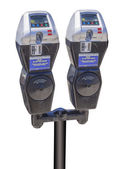 Parking meters tat accept credit cards, isolated — Stock Photo