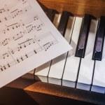 Piano keys and sheet music — Stock Photo #78517248