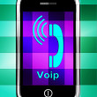 Voip On Phone Displays Voice Over Internet Protocol Or Ip Teleph — Stock Photo #53003283