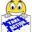 Постер, плакат: Take Action Sign Shows Motivate To Do Something
