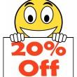 Twenty Percent Sign Shows Sale Discount Or 20 Off — Stock Photo #53004831