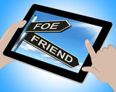 Foe Friend Tablet Means Enemy Or Ally — Stock Photo