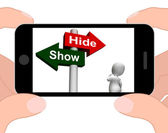 Show Hide Signpost Displays Conceal or Reveal — Stock Photo