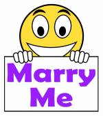 Marry Me On Sign Means Wedding Proposal — Stockfoto