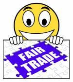 Справедливой торговли знак означает магазин или купить продукцию fairtrade — Стоковое фото