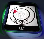 Target Smartphone Displays Goals Aims And Objectives — Foto de Stock