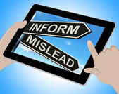 Inform Mislead Tablet Means Let Know Or Misguide — Stock Photo