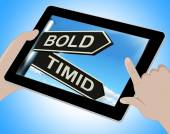 Bold Timid Tablet Shows Extroverted And Shy — Stock Photo