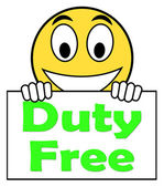 Duty Free On Sign Shows Tax Free Purchases — Stock Photo