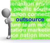 Outsource Word Cloud Sign Shows Subcontract And Freelance — 图库照片