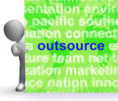 Outsource Word Cloud Sign Shows Subcontract And Freelance — Stock Photo