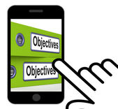 Objectives Folders Displays Business Goals And Targets — Foto de Stock