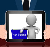 Non Fiction Book And Character Displays Educational Text Or Fact — Stock Photo