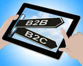 B2B B2C Tablet Means Business Partnership And Relationship With  — Stock Photo
