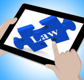 Law Tablet Means Justice And Legal Information Online — Foto Stock