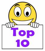 Top Ten On Sign Shows Best Ranking Or Rating — Stock Photo