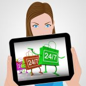 Twenty-four Seven Bags Displays Shopping Availability and Open H — Stock Photo