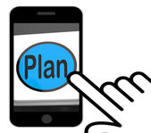 Plan Button Displays Objectives Planning And Organizing — Foto de Stock