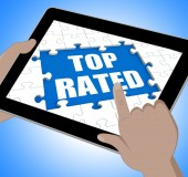Top Rated Tablet Means Web Number 1 Or Most Popular — Zdjęcie stockowe