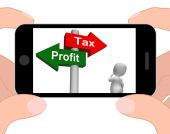 Tax Or Profit Signpost Displays Account Taxation or Profits — 图库照片