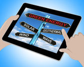 Green Energy Tablet Means Solar Wind Geothermal And Wave — Stock Photo