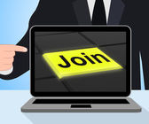 Join Button Displays Subscribing Membership Or Registration — Stock Photo