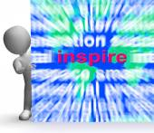 Inspiration Word Cloud Sign Shows Motivation And Encouragement — Stock Photo