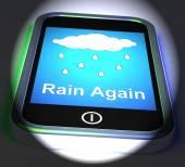 Rain Again On Phone Displays Wet  Miserable Weather — Stock Photo