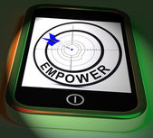 Empower Smartphone Displays Provide Tools And Encouragement — Stock Photo