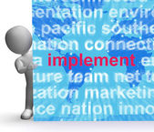 Implement Word Cloud Sign Shows Implementing Or Executing A Plan — Stock Photo