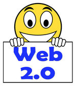 Web 2.0 On Sign Means Net Web Technology And Network — Stock Photo