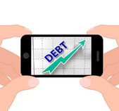 Debt Graph Displays Money Due And Liabilities — Stock Photo