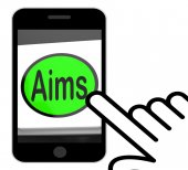 Aims Button Displays Targeting Purpose And Aspiration — Stock Photo