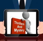 Thrillers And Mystery Book With Character Displays Genre Fiction — Stock Photo