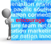 Encourage Word Cloud Sign Shows Promote Boost Encouraged — Foto de Stock