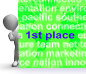 First Place Sign Shows 1st Winner Reward And Success — Stock Photo