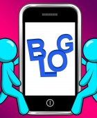 Blog On Phone Displays Blogging Or Weblog Websites — Stock Photo